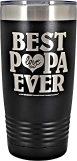 GIFT FOR PAPA - BEST PAPA EVER ~ LOVE YOU Stainless Steel Vacuum Insulated Tumbler Large Travel Coffee Mug Hot Cold GK Grand Designed & Engraved Birthday Fathers Day Christmas Dad (Black, 20 oz)