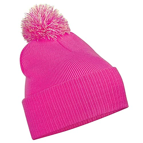 28da3d53a84 Beechfield Unisex Snowstar Duo Winter Knit Beanie Bobble Hat
