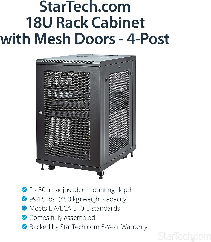 StarTech.com 18U Server Rack Cabinet - 4-Post Adjustable Depth (2