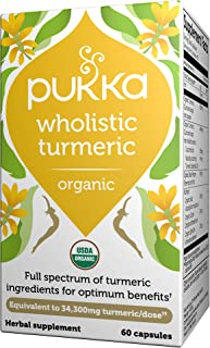 Pukka Herbs Wholistic Turmeric, Organic Herbal Supplements, Pack Of 60 Capsules