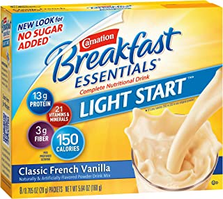 Carnation Breakfast Essentials Light Start Powder Drink Mix, Classic French Vanilla, 8 Packets (Pack of 8 Boxes) (Packaging May Vary)