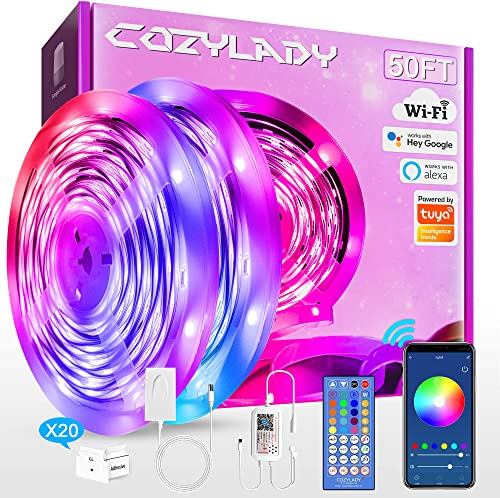 15m LED Strip Lights Compatible with Alexa, Cozylady 15m WiFi LED Light Strips,Music Sync LED Strip Light Controlled ...