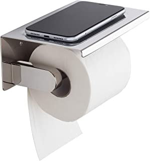 Toilet Roll Holder with Phone Shelf-Wall Mounted Tissue Paper Holder with Tissue Storage-Toilet Paper Holder with Wet Wipe...