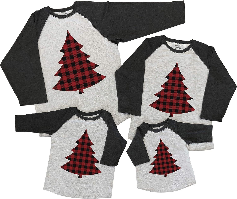 7 ate 9 Apparel Matching Family Christmas Shirts - Plaid Tree Grey Shirt
