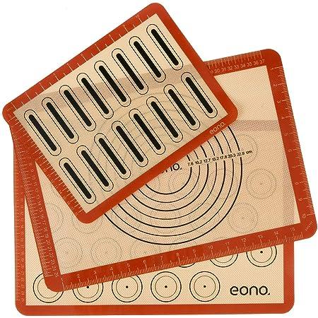 Amazon Brand – Eono Lot de 3 Tapis de Cuisson en Silicone - Feuille de Patisserie Reutilisable, Toile de Cuisson Antiadhésif, Plaques de Four pour Macaron Pizza Pain Pâte, Set de Table