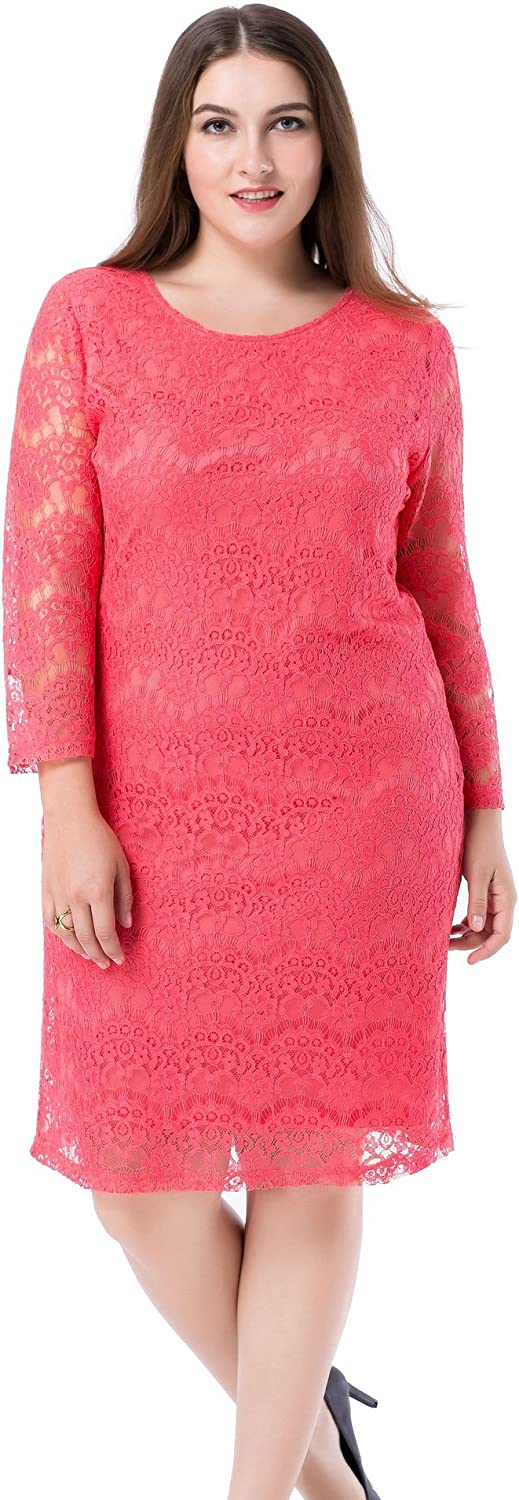 Chicwe Women's Plus Size Lined Lace Dress - 3/4 Sleeves Knee Length Work Casual Party Cocktail Dress