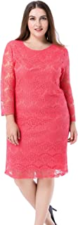 Women's Plus Size Lined Lace Dress - 3/4 Sleeves Knee Length Work Casual Party Cocktail Dress