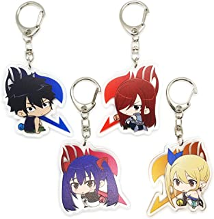 EBTY-Dreams Inc. - Set of 4 Fairy Tail Anime Acrylic Keychain Erza Scarlet, Gray Fullbuster, Lucy Heartfilia, Wendy Marvell