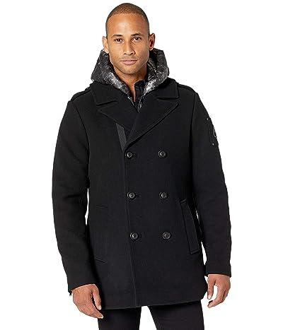 Moose Knuckles Calvington Wool Peacoat (Black/Carbon) Men