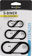 Nite Ize S-Biner Dual Carabiners, Stainless-Steel, Black, Assorted 3-Pack, Sizes 2, 3, 4
