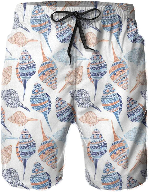 Marine Life Themed Abstract Seashells Scallops with Bohemic Prints Mens Swim Trucks Shorts with Mesh Lining,XL