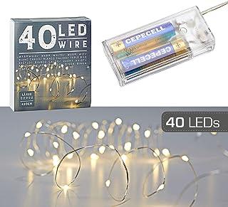 Łańcuch świetlny z 40 diodami LED z mikro-drutami, ciepła biel, srebrny, na baterie, dekoracja, timer, z 40 diodami LED, ł...