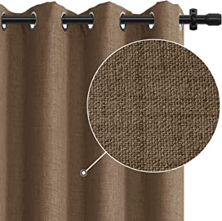 Rose Home Fashion 100% Blackout Curtains for Bedroom Linen Textured Look Drapes with..