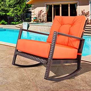 Outroad Rocking Wicker Chair Orange Lounge Chair with Thick Cushion for Outdoor, Porch, Garden, Backyard or Pool
