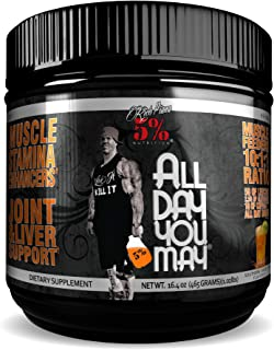 Rich Piana 5% Nutrition All Day You May 10:1:1 BCAA Powder, 9g of Amino Acids | Elite Muscle Recovery, Hydration, Lactic A...