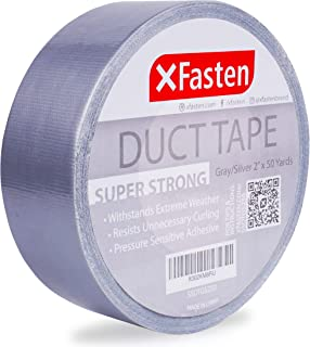 XFasten Super Strong Duct Tape, Gray/Silver, 2-Inch x 50 Yards, 11mil | Waterproof and UV-Resistant Heavy-Duty Duct Tape |...