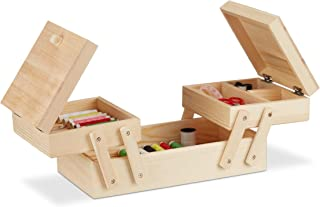Relaxdays Wooden Sewing Box with 5Sections Folding Handles–Empty Natural Look, H x W: 12x 26x 15,5cm, Natural