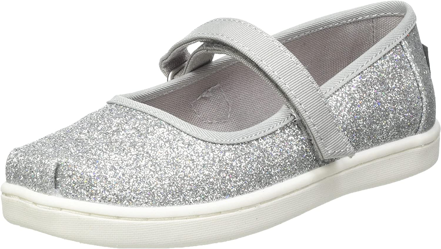 TOMS Latest Our shop OFFers the best service item Silver Iridescent Glimmer Tiny Siz 10011521 Flat Mary Jane
