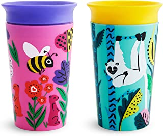 Munchkin Miracle 360 WildLove Toddler Sippy Cup, Bee/Lemur, 9 oz/266 ml, 2 Pack
