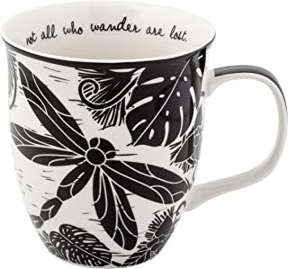 Karma Gifts Boho Black And White Mug, Dragonfly