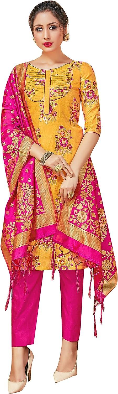 Indian Pakistani Women's Readymade Sacramento Mall Dress Art Topics on TV Woven Banarasi Silk