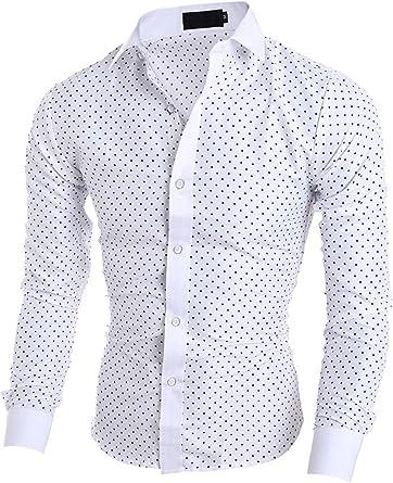 Elonglin - Camisa de manga larga para hombre, diseño de lunares, color azul marino y blanco