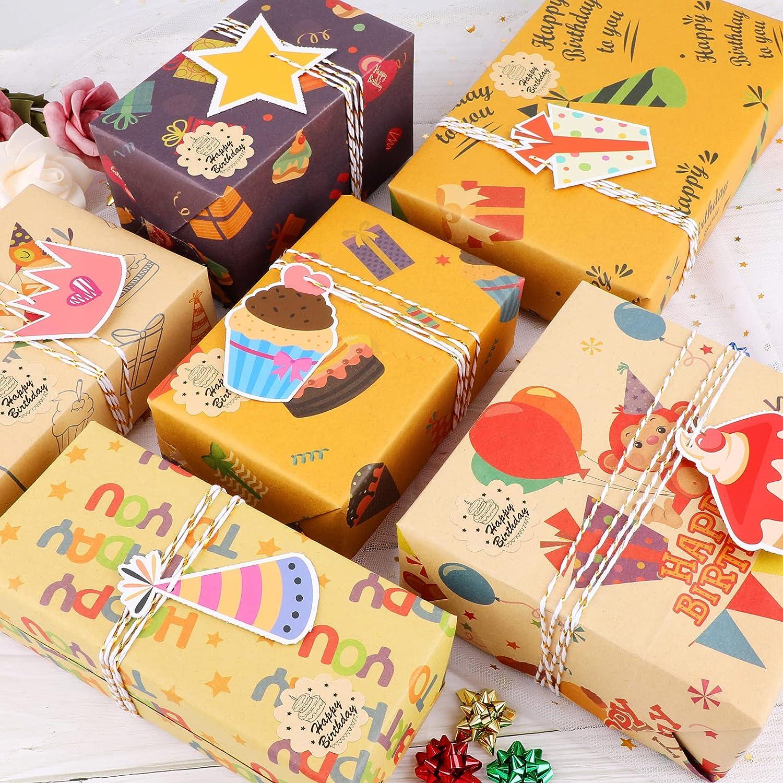 Qpout Papel De Regalo De Cumpleaños 6 Hojas Empaquetadas Hojas Plegadas XL Con Etiquetas e Hilo Multipack Papel De Regalo Para Cumpleaños Papel Kraft Reciclado Alegre Para Mujeres y Niños