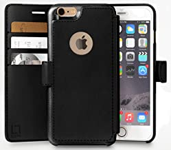LUPA iPhone 6S Plus Wallet case, iPhone 6 Plus Wallet Case, Durable and Slim, Lightweight with Classic Design & Ultra-Strong Magnetic Closure, Faux Leather, Black, for Apple iPhone 6s Plus/6 Plus