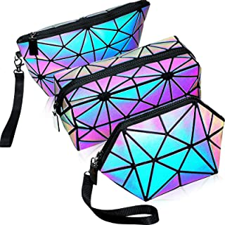 3 Pieces Makeup Bags for Women, Portable Travel Cosmetic Bag Organizer Case with Wrist Strap Toiletry Bags Holographic Luminous Geometric and Reflective Foldable Makeup Bags