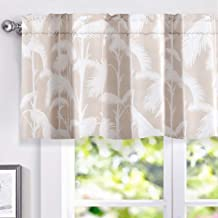 DriftAway Tropical Palm Leaves Lined Thermal Insulated Window Curtain Valance Rod Pocket 2 Panels Each 52 Inch by 18 Inch Plus 2 Header Beige