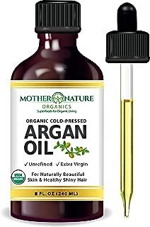 Premium USDA Certified Organic Moroccan Argan Oil – Vegan Beauty & Healthy Skin, Hair & Nails – Cold Pressed Unrefined Pure Argan Oil Hydrates and Rejuvenates – Non-Greasy, Hexane Free, Non-GMO (8oz)