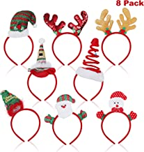 Christmas Accessories - Christmas Headband (8 Pieces in Different Designs) - Christmas Headwear includes Santa Claus, Rain Dear (2 types), Spiral and Normal Santa Hat, Xmas Tree, Snow man & Elf Hat