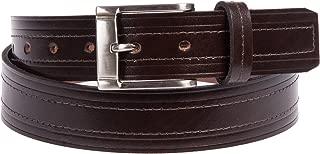 Xcessoire 男式经典真皮皮带,双线缝合细节(棕色)