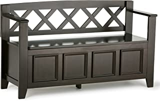 Simpli Home INT-AXCAB-BNCH-DAB Amherst Solid Wood 48 inch Wide Transitional Entryway Storage Bench in Dark Brown