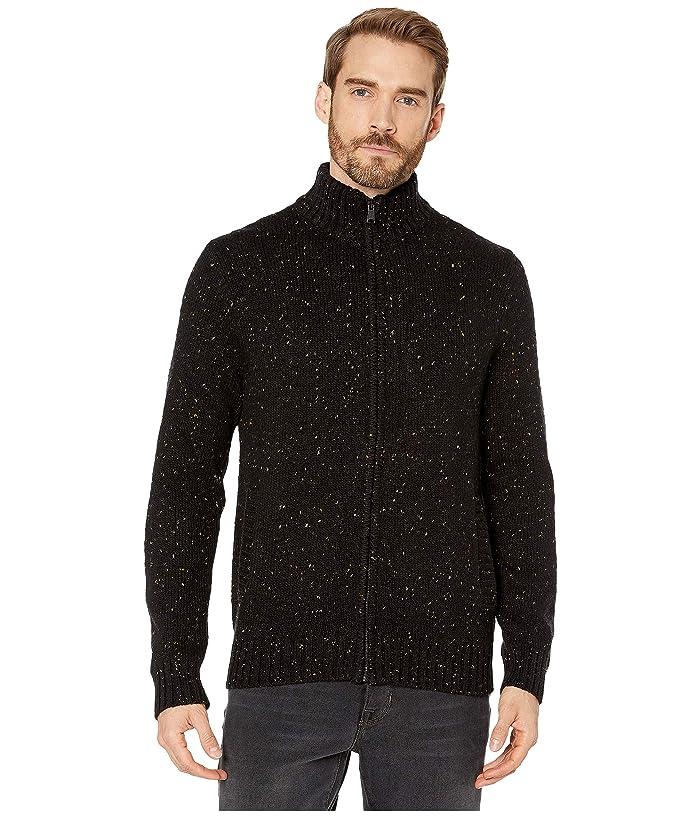 Lucky Brand  Donegal Full Zip Mock Sweater (Black) Mens Clothing