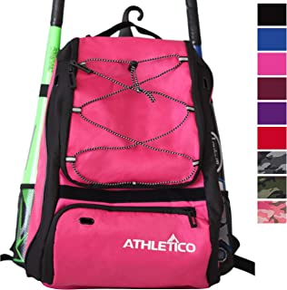 Athletico Baseball Bat Bag - Backpack for Baseball, T-Ball & Softball Equipment & Gear for Youth and Adults | Holds Bat, Helmet, Glove, Shoes |Shoe Compartment & Fence Hook
