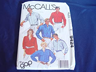 Vintage McCall's 9424 Women's and Men's Long Sleeve Shirt Sewing Pattern Size Small Uncut