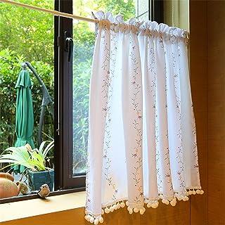 ستائر نوافذ مطبخ بيضاء مع تطريز زهرة الروطان الفرنسية ، غرفة النوم والحمام مقهى بيسترو مكتب ستارة قطن بوليستر- 140x220cm