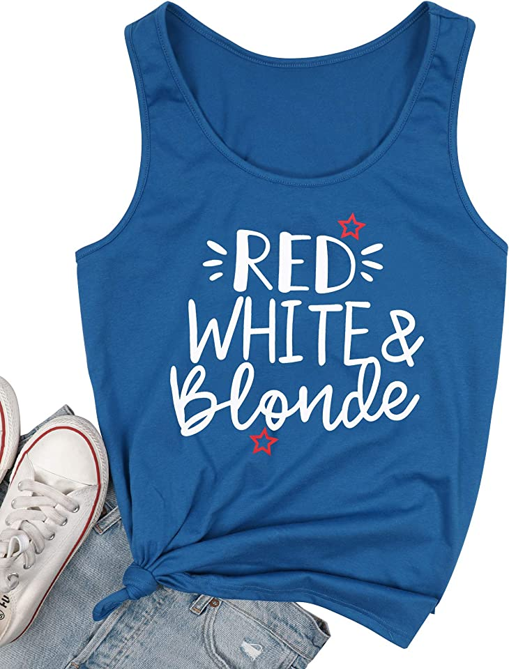 MYHALF American Flag Tank Top Women Red White Blonde Tank Funny 4th of July Shirt Independence Day Sleeveless Tops