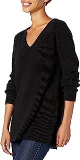 Amazon Brand - Goodthreads Women's Cotton Shaker Stitch Deep V-Neck Sweater