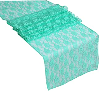 mds Pack of 10 Wedding 12 x 108 inch Lace Table Runner for Wedding Banquet Decor Table Lace Runner- Mint