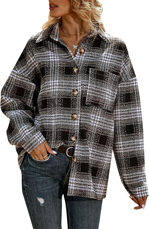OMZIN Women Plaid Retro Button Down Shacket Coat Casual Wool Blend Shirts