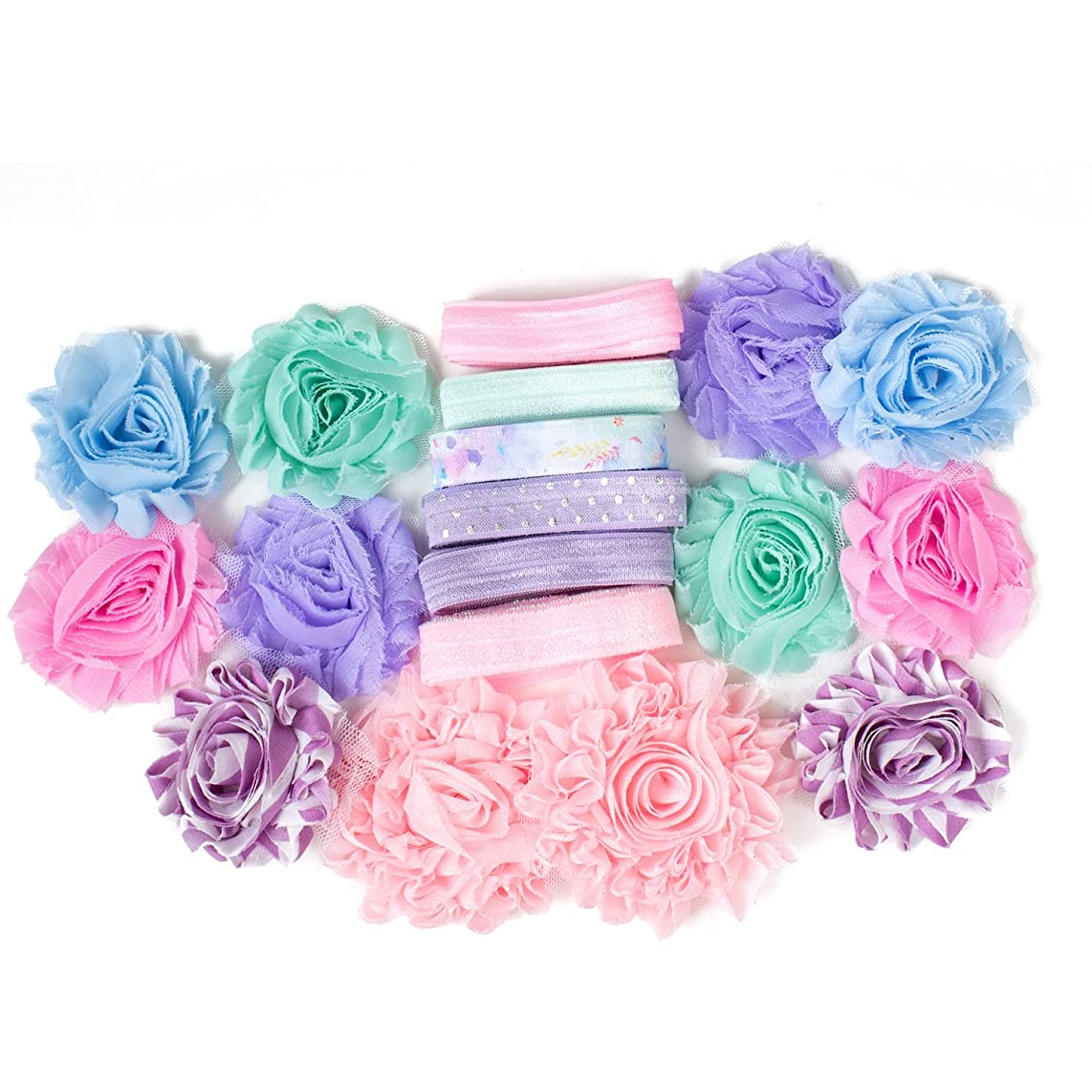 Sweet Dreams : Pink Lavender & Mint DIY Headband Kit Makes 6 or 12 Hair Accessories : Shabby Chiffon Craft Roses FOE Fold Over Elastic : Princess Parties & Baby Showers