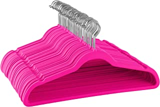 ZOBER Premium Quality Space Saving Velvet Hangers Strong and Durable Hold Up to 10 Lbs - 360 Degree Chrome Swivel Hook - Ultra Thin Non Slip Suit Hangers, 50 Pack (Pink)