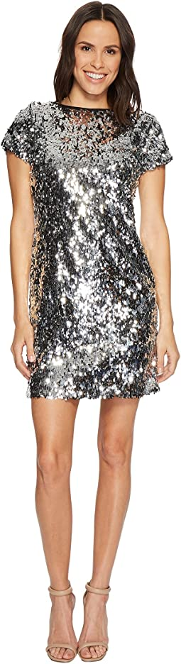 Short Sleeve All Over Sequin Dress