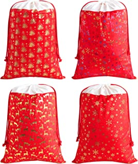 Faylapa Large Santa Sacks,Canvas Stocking with Drawstrings,Reusable Designs,19.7 X 27.5 Inch Xmas Present Bag