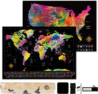 """Scratch Off Map of The World - World Map (23.4"""" x 16.5"""") + Bonus Scratch Off USA Map with Full Accessories Set & Name-Tagged Gift Box - Perfect Gift for Travelers"""