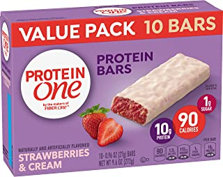 Protein One 90 Calorie Protein Bars, Strawberries & Cream, 10 Count, (Pack of 6)