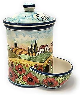 CERAMICHE D'ARTE PARRINI- Ceramica italiana artistica, barattolo sale a scesa decorazione paesaggio papaveri, dipinto a ma...