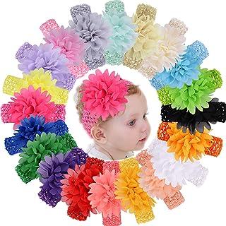 WillingTee 20pcs Baby Girls Headbands Chiffon Flower Soft Stretchy Hair Band Hair Accessories for Baby Girls Newborns Infa...